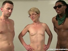 gang Bang, Gilf Blowjob, gilf, Granny In Gangbang, Short Hair